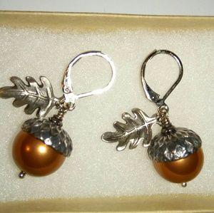 Petite acorn nut metal earring
